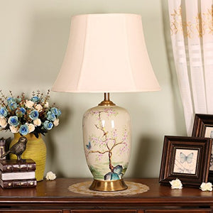 505 HZB Chinese Modern Ceramic Copper Lamp, Bedroom Bedside Lamp, Living Room Study Desk Lamp