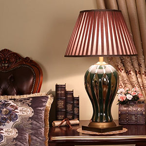 505 HZB Chinese Modern Copper Ceramic Desk Lamp, Bedroom Bedside Cabinet Lamp, Living Room Study Desk Lamp