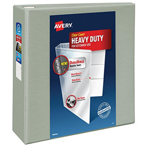 Avery Heavy-Duty View Binder with 4-Inch One Touch EZD Ring, Gray (79404)