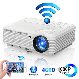 LED Bluetooth Wireless HD Projector with WiFi HDMI USB ZOOM Support 1080P Airplay, Smart Android LCD WXGA Home Cinema Outdoor Movie Game Party TV Video Projectors for Laptop PC Tablet Phone DVD PS4