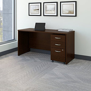 Bush Business Furniture Series C 60W x 24D Office Desk with Mobile File Cabinet in Mocha Cherry