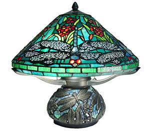 Fine Art Lighting Tiffany Dragonfly Table lamp, Multi Color