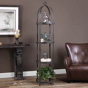My Swanky Home Industrial Iron Straps Cloche Etagere | Modern Metal Round Tall Shelf Shelves