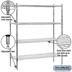 Salsbury Industries Stationary Wire Shelving Unit, 60-Inch Wide by 74-Inch High by 18-Inch Deep, Chrome