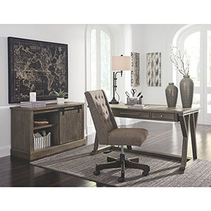 Ashley Furniture Signature Design - Luxenford Large Home Office Desk - Casual - 3 Drawers/Faux Bluestone Inset Top - Grayish Brown Finish - Brushed Nickel Hardware