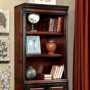 Furniture of America CM-DK6255S Strandburg Cherry and Black Bookcase Miscellaneous - Home Office Desk