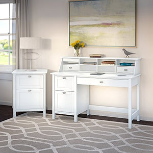 Broadview Computer Desk with Pedestal, Organizer and File Cabinet
