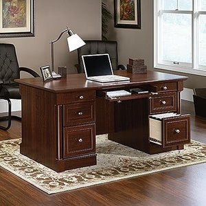 "Sauder 412902 Palladia Executive Desk, L: 65.12"" x W: 29.53"" x H: 29.61"", Select Cherry finish"
