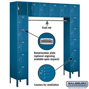 Salsbury Industries 66016BL-U Six Tier Box Style Bridge 16 Box 18-Inch Deep Unassembled Standard Metal Locker, Blue