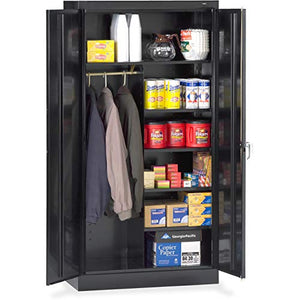 Tennsco Combination Wardrobe/Storage Cabinet - 36quot; x 18quot; x 72quot; - Security Lock - Black