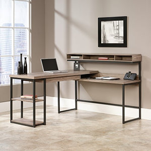 "Sauder 414417 Transit L-Desk, L: 60.71"" x W: 59.06"" x H: 42.52"", Salt Oak finish"