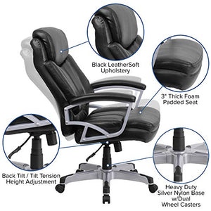 Flash Furniture HERCULES Series Big & Tall 500 lb. Rated Black Leather Executive Swivel Chair with Arms