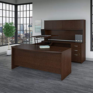 Bush Business Furniture Series C Elite 72W x 36D 3 Position Sit to Stand Bow Front U Shaped Desk with Hutch and 3 Drawer File Cabinet in Mocha Cherry