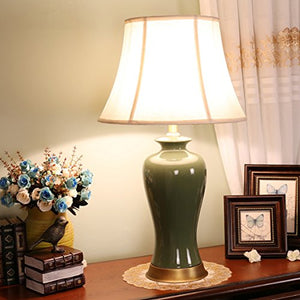 505 HZB American Copper Desk Lamp, Bedroom Bedside Ceramic Desk Lamp, Living Room Study Desk Lamp