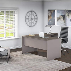 Bush Furniture Commerce 60W L Shaped Desk in Cocoa and Pewter