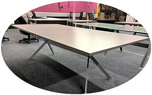 Modern Silver conference table with Chrome Silver V - legs