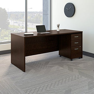 Bush Business Furniture Series C 72W x 30D Office Desk with Mobile File Cabinet in Mocha Cherry