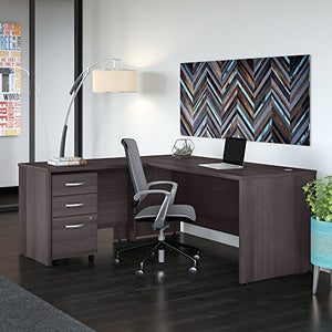 Studio C 72W x 30D L Shaped Desk with Mobile File Cabinet and 42W Return in Storm Gray