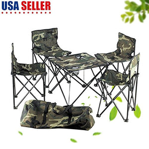 Generic .pin Camping Desk Folding e Beach Campi Set Seats t Seats Ca Foldable Table Chair ble Chair Camouflage Beach able Table