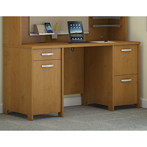 Bush Furniture Envoy 58W Office Desk with 2 Pedestals in Natural Cherry