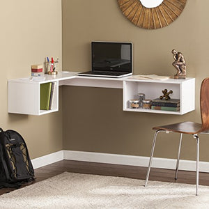 Southern Enterprises Flynn Floating Wall Mount Corner Desk - Storage Cubbies - Pure White Finish