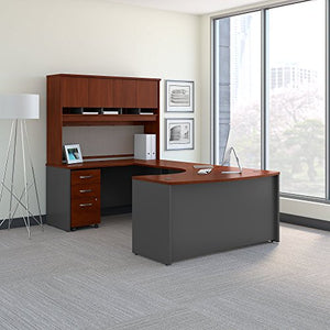 Bush Business Furniture Series C 60W Left Handed Bow Front U Shaped Desk with Hutch and Storage in Hansen Cherry