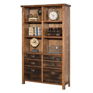 Heritage 2 Piece Rustic Office Set with Desk and Bookcase in Hickory