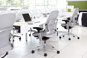 Steelcase Leap Desk Chair with Headrest Soapstone Leather Seat and Back - Highly Adjustable Arms - Black Frame and Base - Standard Carpet Casters