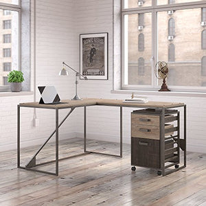 Bush Furniture Refinery 50W L Shaped Industrial Desk with 37W Return and Mobile File Cabinet in Rustic Gray