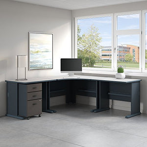 Bush Business Furniture Series A 84W x 84D Corner Desk with Mobile File Cabinet in Slate and White Spectrum