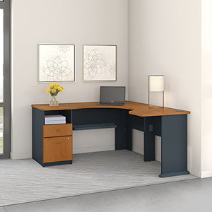 Bush Business Furniture Series A 60W L Shaped Corner Desk with 2 Drawer Pedestal and 30W Bridge in Natural Cherry and Slate