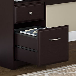 Bush Furniture Cabot 72W L Shaped Computer Desk with Hutch and Drawers in Espresso Oak