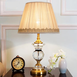 HZB American Minimalist Copper Crystal Lamps European Fashion Bedroom Living Room Lamp Bedside Study