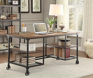Homelegance 5099-15 Wood and Metal Writing Desk, Brown/Black