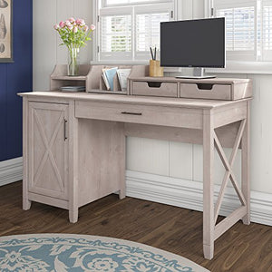Bush Furniture Key West 54W Computer Desk with Storage and Desktop Organizers in Washed Gray