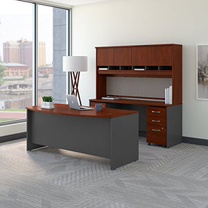 Bush Business Furniture Series C Bow Front Desk with Credenza, Hutch and Storage in Hansen Cherry