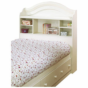 White Wash 39'' Twin Size Bookcase Headboard, Country Style, 5 Storage Spaces, Made from Laminated Particle Board, Rounded Shape, Bundle with Our Expert Guide with Tips for Home Arrangement