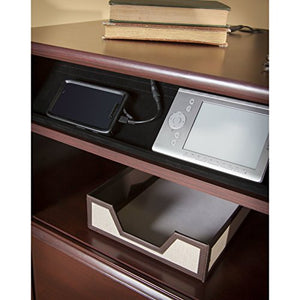 Premium L-Shaped Desk - Modern Stylish Executive Table Storage Organization Home Office Free eBook (Harvest Cherry)