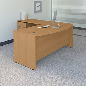 Bush Business Furniture Series C 72W Bow Front L Shaped Desk with 48W Return and Mobile File Cabinet in Light Oak