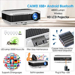 HD LCD HDMI Wireless Bluetooth Movies Projector for Gaming TV Home Theater 4600 Lumen 1280x800 New 2019 Android Video Projectors Compatible with iPad HDMI VGA USB, DVD Laptop Smartphone PS4 Wii Xbox