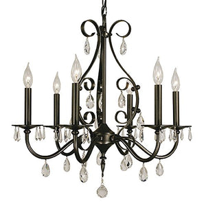 "Framburg 2986 MB Liebestraum 6-Light Chandelier with Clear Crystal Accents, 24"" x 24"" x 24.5"", Mahogany Bronze"