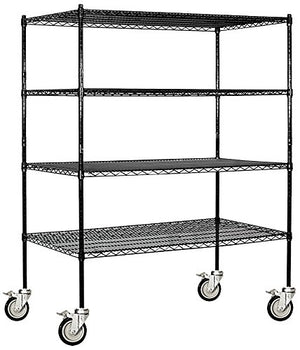 Salsbury Industries Mobile Wire Shelving Unit, 60-Inch Wide by 69-Inch High by 24-Inch Deep, Black