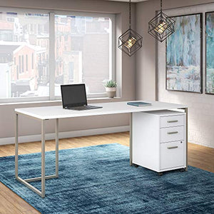 Office by kathy ireland Method 72W Table Desk with 3 Drawer Mobile File Cabinet in White