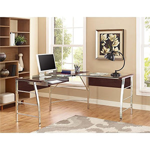 Ameriwood Home 9105296COM Altra Wingate Glass Top L Desk, Cherry,