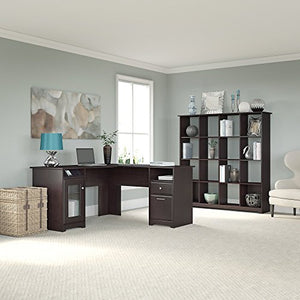 Bush Furniture Cabot L Shaped Desk and 16 Cube Bookcase in Espresso Oak