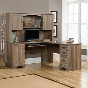 "Sauder 417586 Harbor View Computer Desk, L: 66.14"" x W: 66.14"" x H: 30.28"", Salt Oak finish"