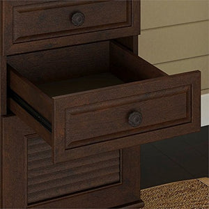 kathy ireland Home by Bush Furniture Volcano Dusk Double Pedestal Desk with Hutch in Coastal Cherry
