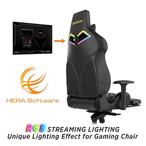 GAMDIAS Multi-Color RGB Gaming Chair High Back with Footrest Adjusting Headrest and Lumbar Support, Black (Achilles P1 Black/Black)
