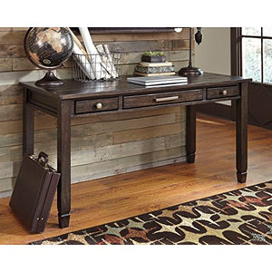 Ashley Furniture Signature Design - Townser Home Office Desk - Contemporary - 3 Drawers - Pewter-Tone Hardware - Grayish Brown Finish