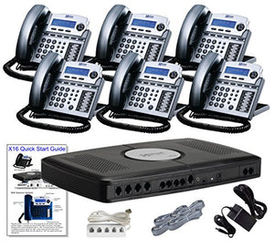 X16 Small Office Phone System with 6 Titanium Metallic X16 Telephones - Auto Attendant, Voicemail, Caller ID, Paging & Intercom
